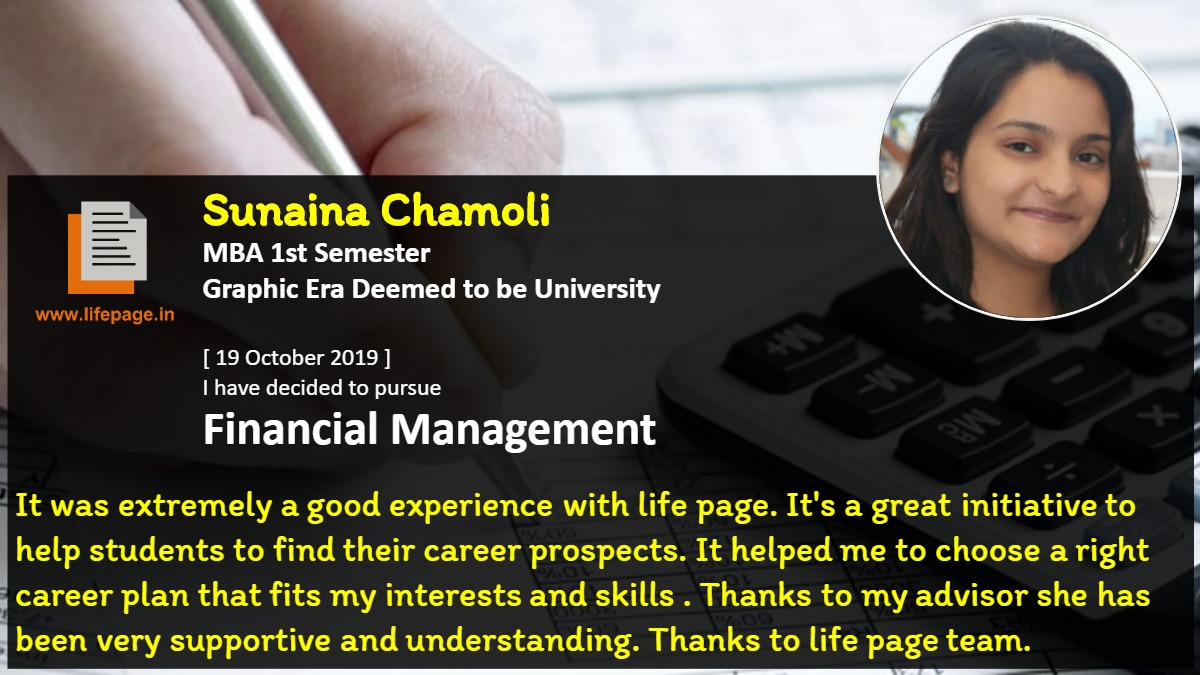 It was extremely a good experience with life page. It's a great initiative to help students to find their career prospects. It helped me to choose  a right career plan that fits my interests and skills . Thanks to my advisor she has been very supportive and understanding. Thanks to life page team.
