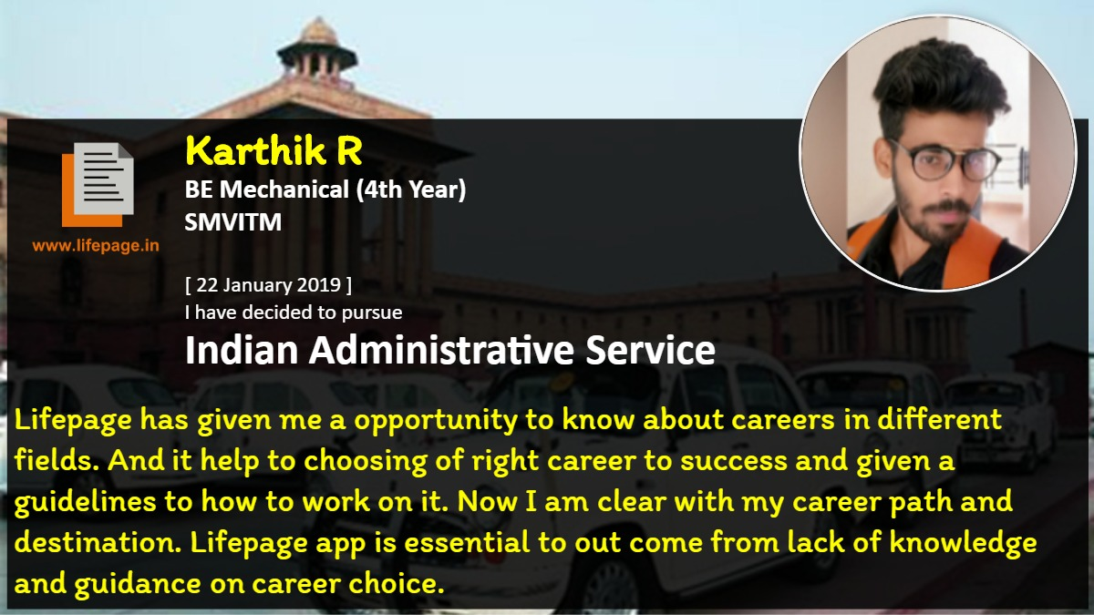 Lifepage has given me a opportunity to know about careers in different fields. And it help to choosing of right career to success and given a guidelines to how to work on it. Now I am clear with my career path and destination. Lifepage app is essential to out come from lack of knowledge and guidance on career choice.