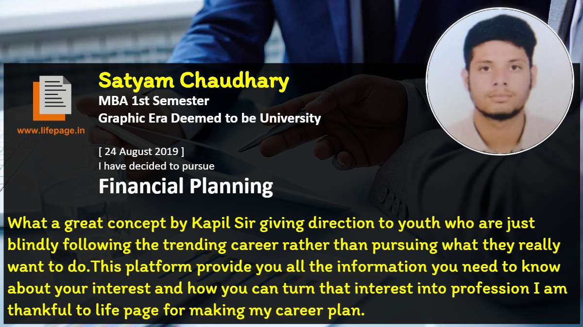 What a great concept by Kapil Sir giving direction to youth who are just blindly following the trending career rather than pursuing what they really want to do.This platform provide you all the information you need to know about your interest and how you can turn that interest into profession I am thankful to life page for making my career plan.