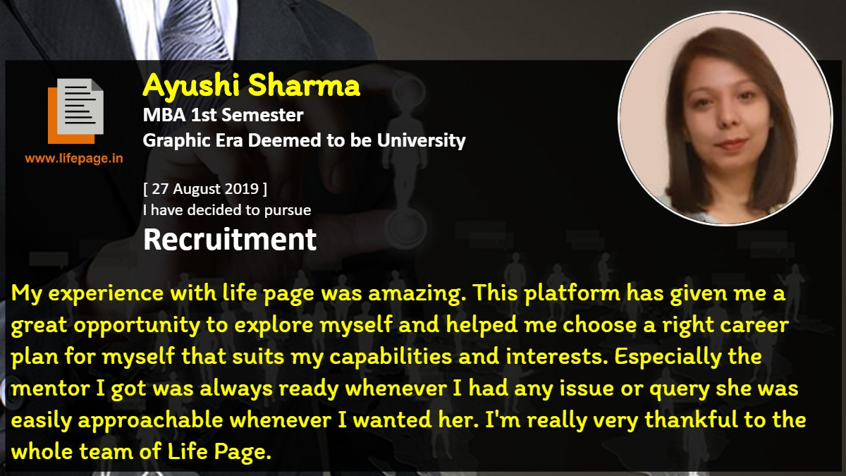 My experience with life page was amazing. This platform has given me a great opportunity to explore myself and helped me choose a right career plan for myself that suits my capabilities and interests. Especially the mentor I got was always ready whenever I had any issue or query she was easily approachable whenever I wanted her. I'm really very thankful to the whole team of Life Page.