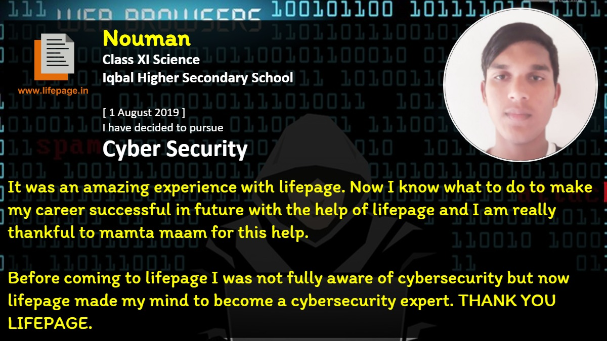 It was an amazing experience with lifepage. Now I know what to do to make my career successful in future with the help of lifepage and I am really thankful to mamta maam for this help.