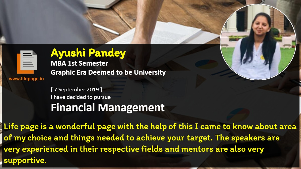 Life page is a wonderful page with the help of this I came to know about area of my choice and things needed to achieve your target. The speakers are very experienced in their respective fields and mentors are also very supportive.