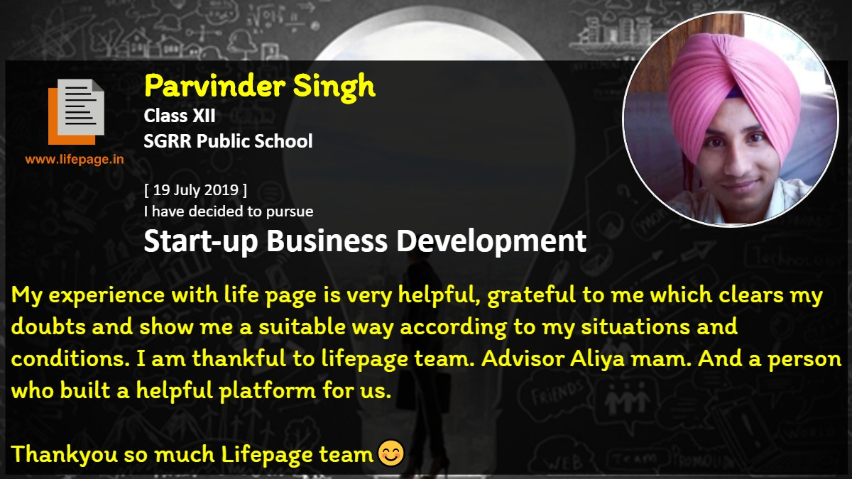 My experience with life page is very helpful, grateful to me which clears my doubts and show me a suitable way according to my situations and conditions. I am thankful to lifepage team. Advisor Aliya mam. And a person who built a helpful platform for us.<br />