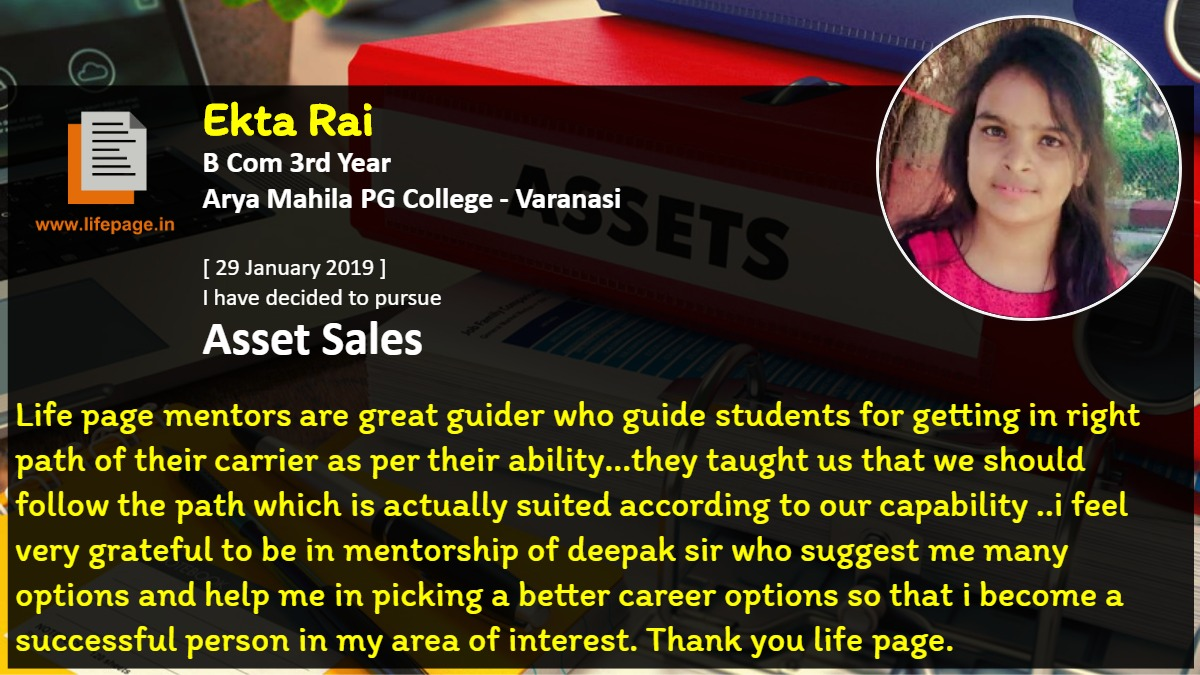 Life page mentors are great guider who guide students for getting in right path of their carrier as per their ability...they taught us that we should follow the path which is actually suited according to our capability ..i feel very grateful to be in mentorship of deepak sir who suggest me many options and help me in picking a better career options so that i become a successful person in my area of interest. Thank you life page.