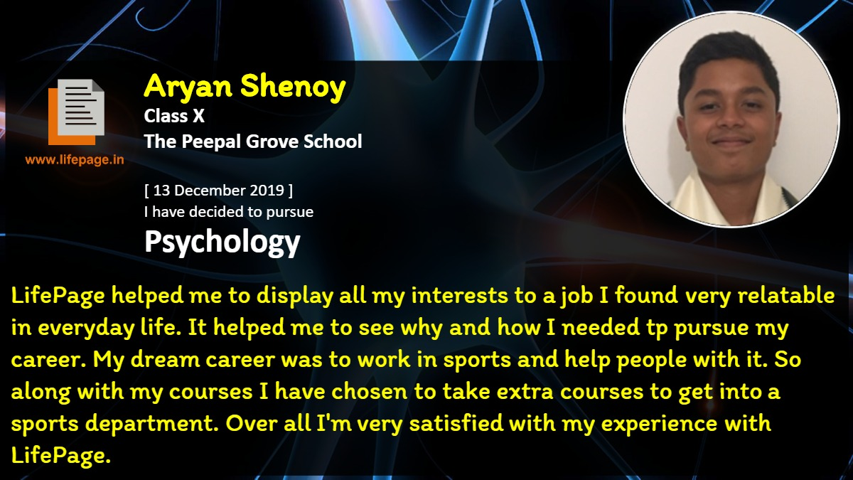 LifePage helped me to display all my interests to a job I found very relatable in everyday life. It helped me to see why and how I needed tp pursue my career. My dream career was to work in sports and help people with it. So along with my courses I have chosen to take extra courses to get into a sports department. Over all I'm very satisfied with my experience with LifePage.