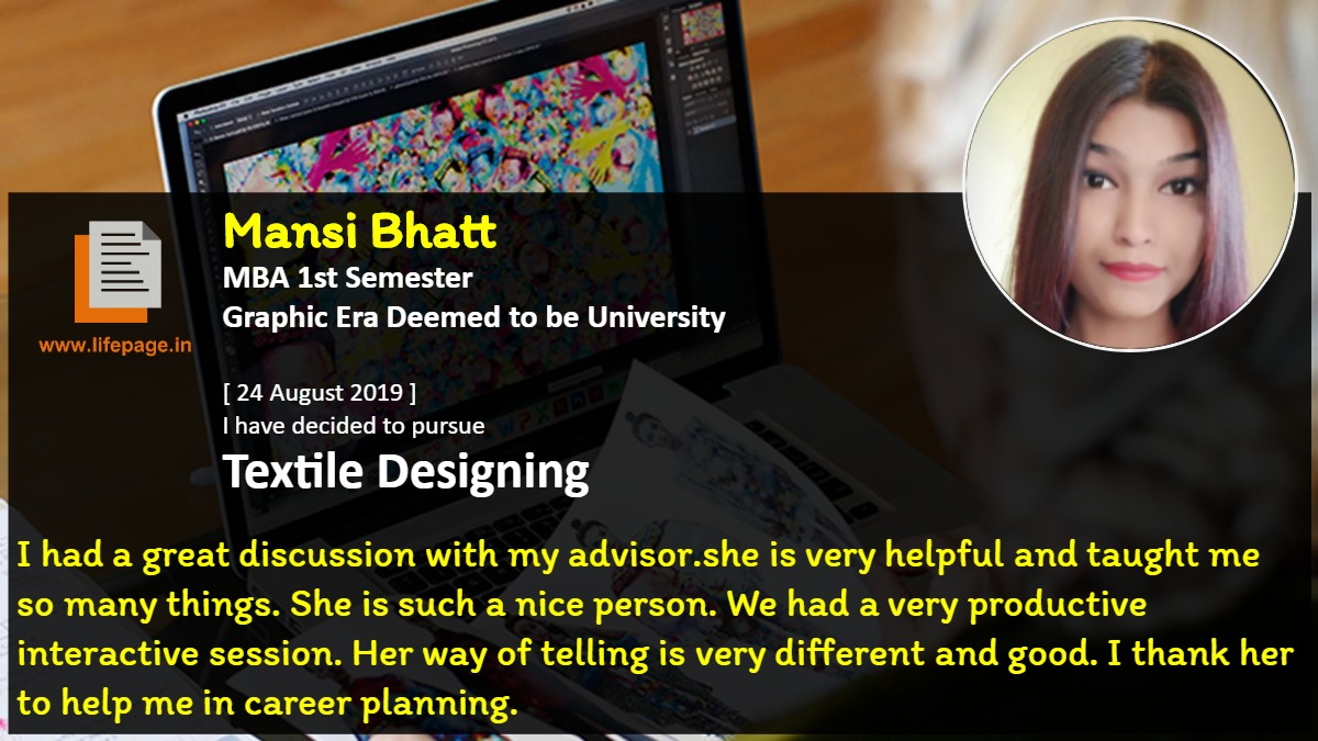 I had a great discussion with my advisor.she is very helpful and taught me so many things. She is such a nice person. We had a very productive interactive session. Her way of telling is very different and good. I thank her to help me in career planning.