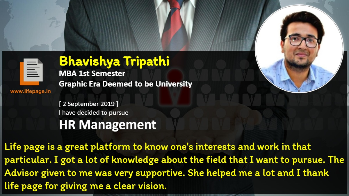 Life page is a great platform to know one's interests and work in that particular. I got a lot of knowledge about the field that I want to pursue. The Advisor given to me was very supportive. She helped me a lot and I thank life page for giving me a clear vision.