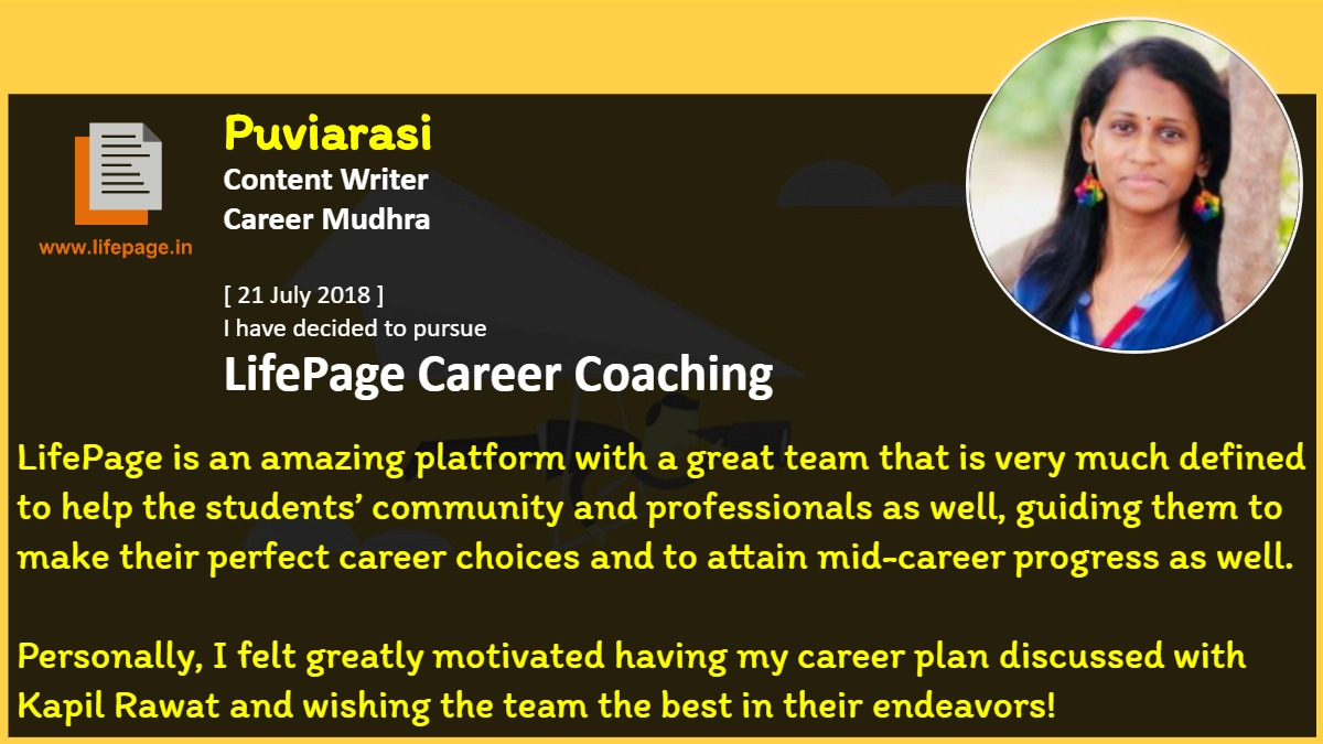 LifePage is an amazing platform with a great team that is very much defined to help the students' community and professionals as well, guiding them to make their perfect career choices and to attain mid-career progress as well.<br />